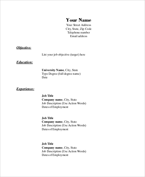 employment resume outline