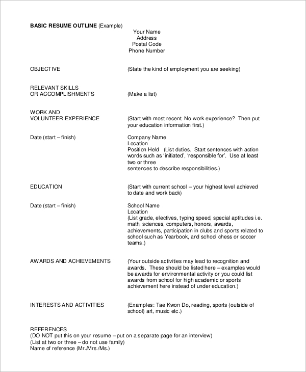 Resume Outlines Examples. Glamorous Basic Sample Resume 3 Resume