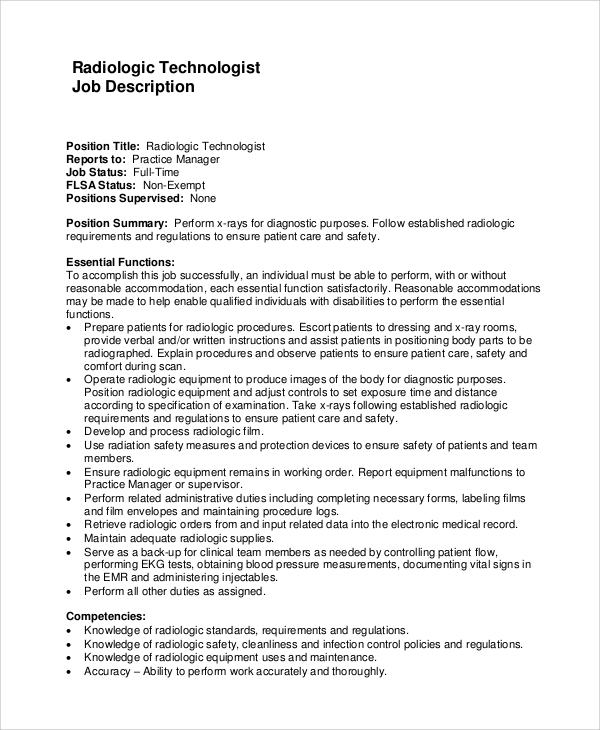 sample radiologic technologist job description - X Ray Technologist Job Description