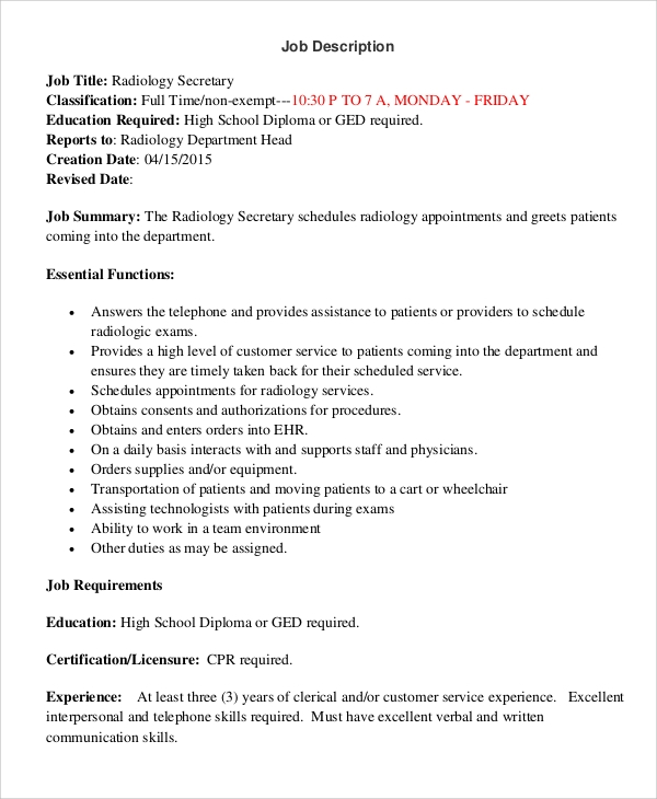 radiology secretary job description