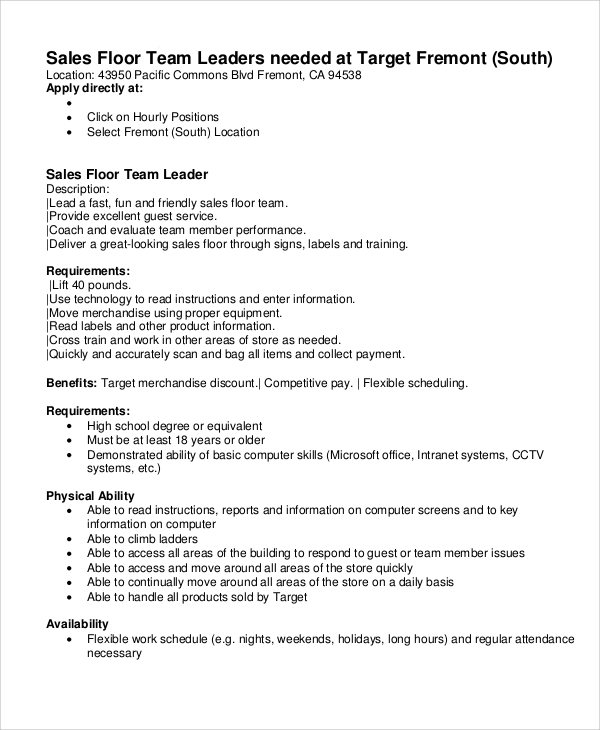 sle team leader description 9 exles in word pdf