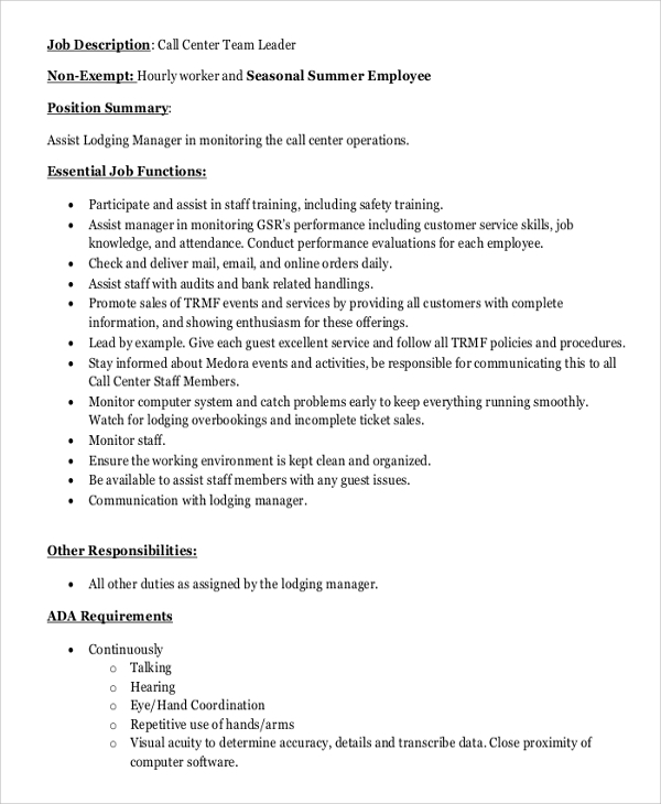 call center team leader job description - Call Center Duties
