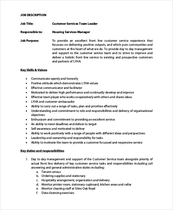 team leader job description customer care team leader job