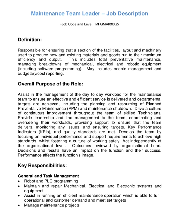 Sample Team Leader Job Description 9 Examples in Word PDF – Produce Supervisor Job Description