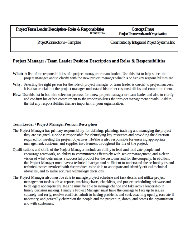 Sample Team Leader Job Description - 9+ Examples In Word, Pdf
