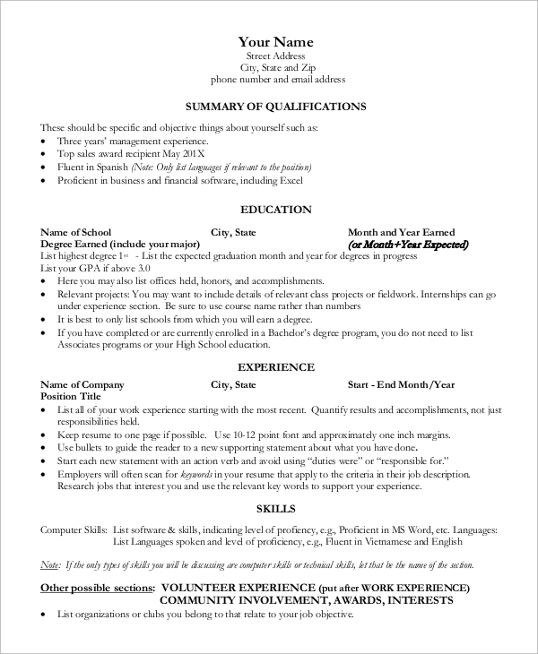 Sample One Page Resume   Examples In Word Pdf