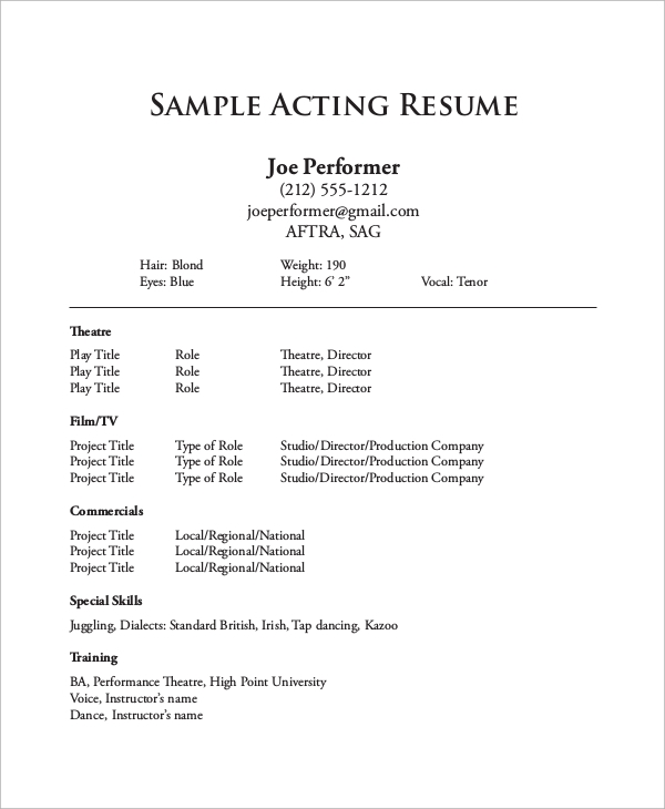 sample one page resume
