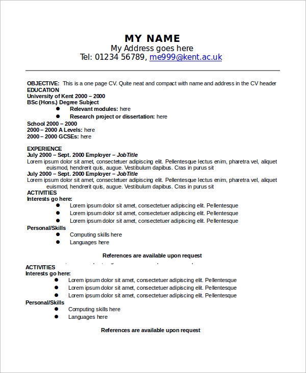 One Page Resume Outline