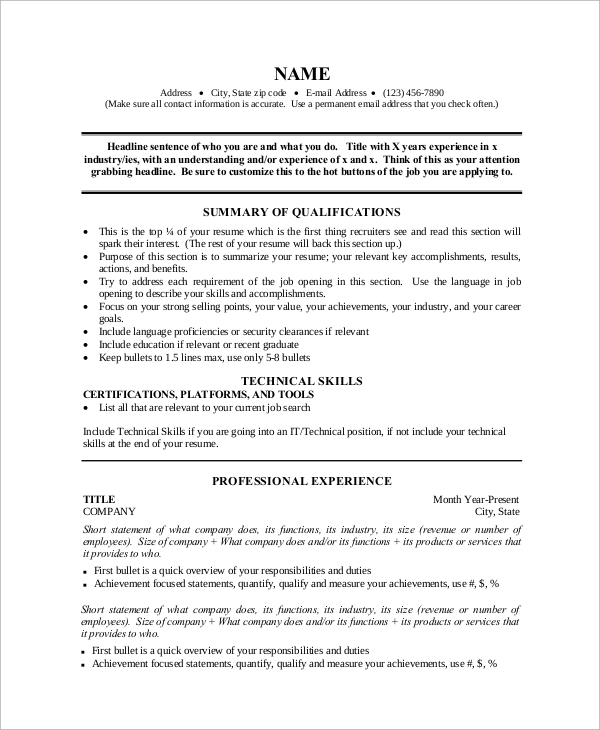 one page resume format for experienced - One Page Resume Format