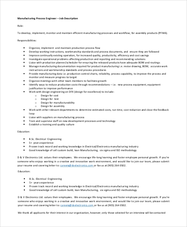 Sample Process Engineer Job Description   Examples In Pdf