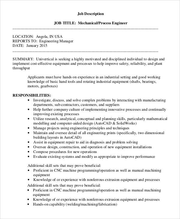 Sample Process Engineer Job Description 10 Examples in PDF – Mechanical Engineer Job Description