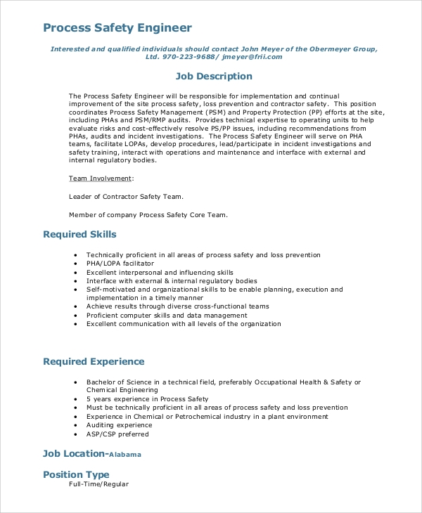 Sample Process Engineer Job Description 10 Examples in PDF – Contractor Job Description