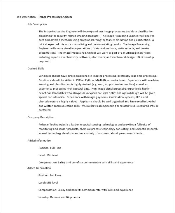 image processing engineer job description