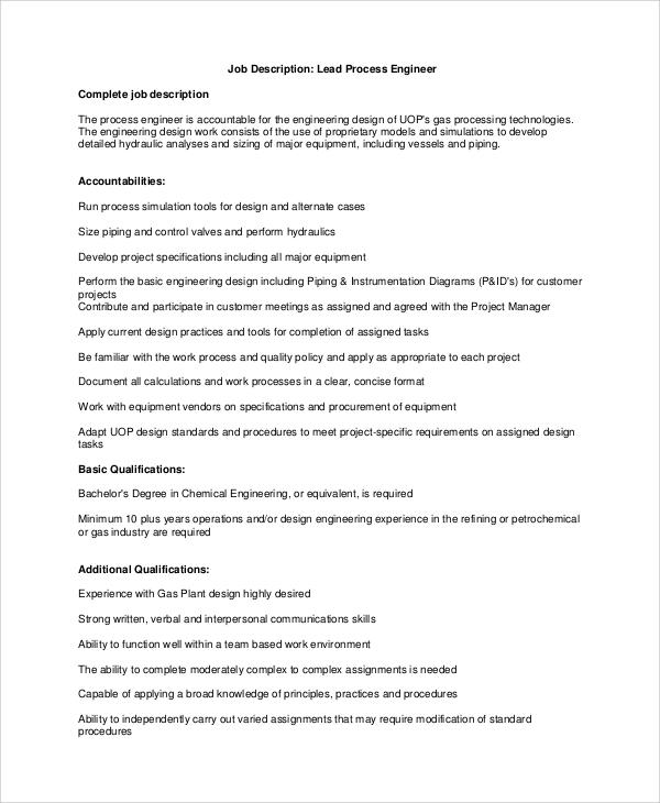 job description for lead process engineer