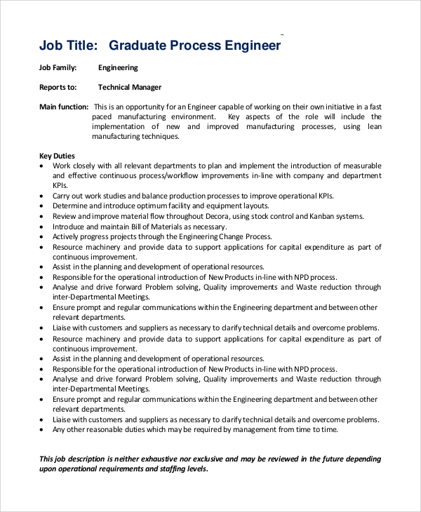 Sample Process Engineer Job Description - 10+ Examples In Pdf