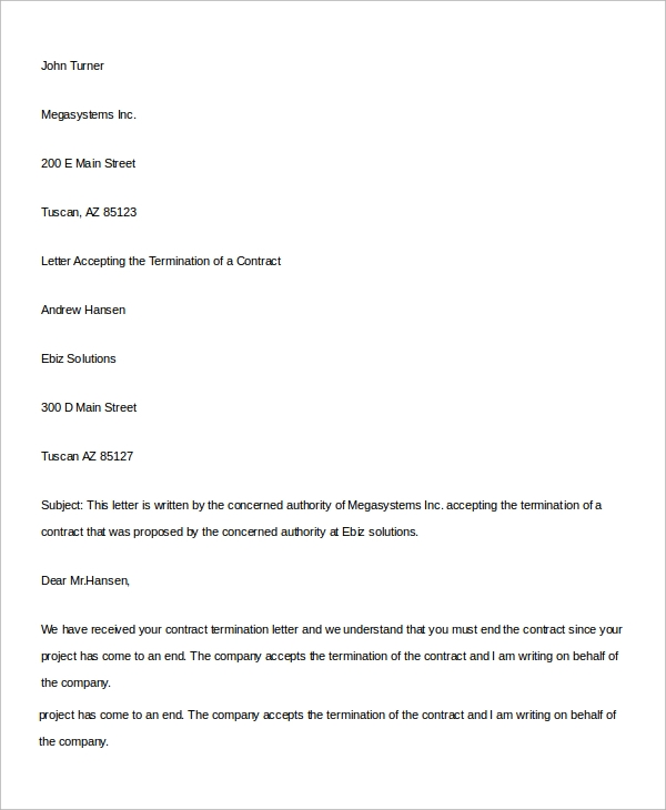 Editable Business Contract Termination Letter  Business Contract Termination Letter Template