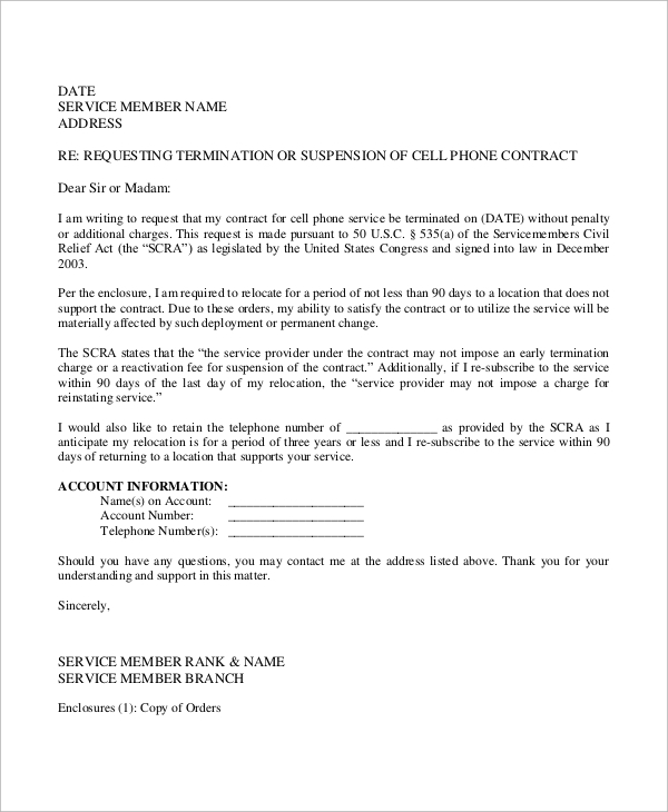 cell phone contract termination letter