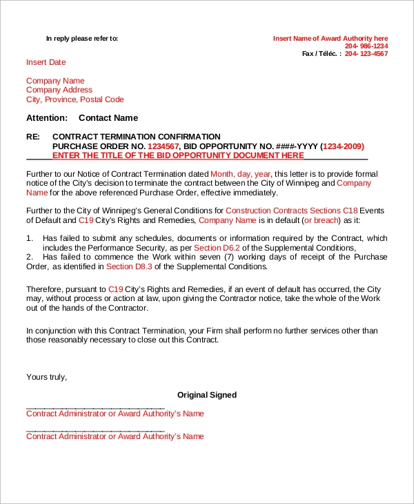contract termination letter confirmation