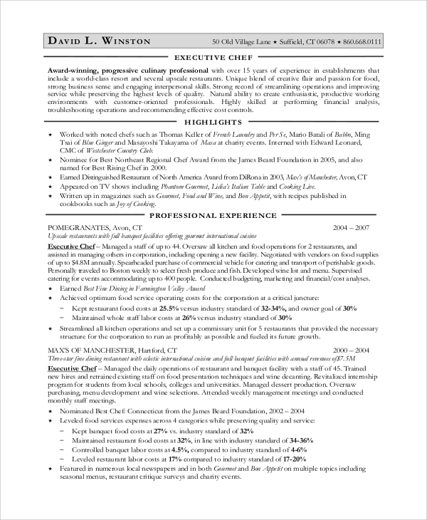 Executive Chef Resume Examples. Chef Resume Sample Chef Resume ...