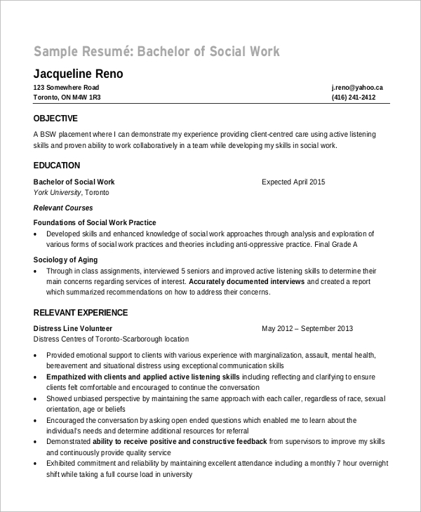 Resume Objectives For Social Workers