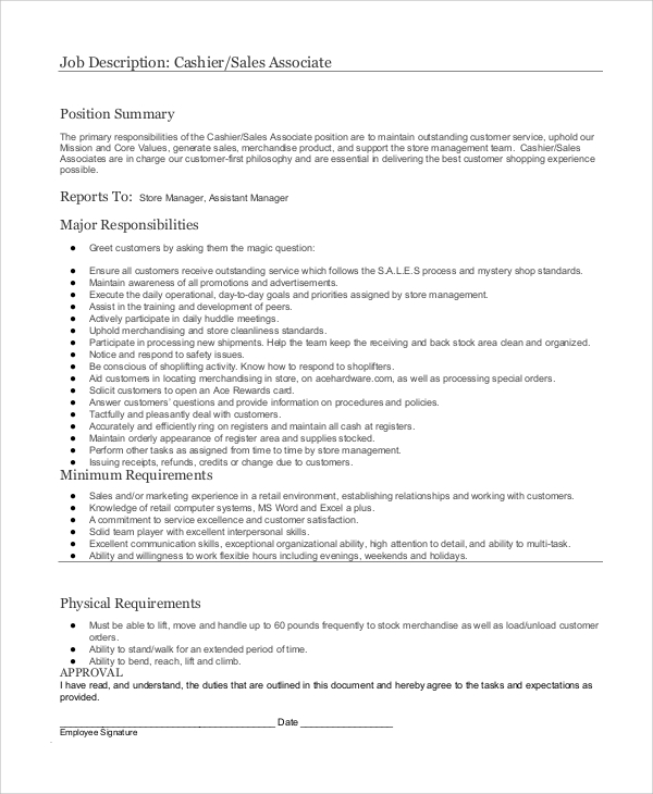 Sales Associate Responsibility  Description Of Sales Associate