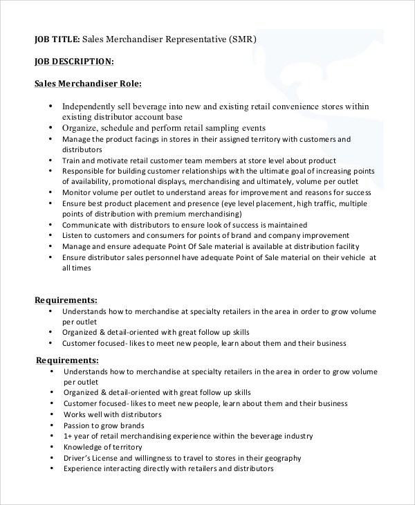 Sample Sales Job Description 10 Examples in PDF Word – Merchandiser Job Description