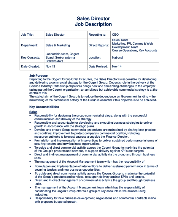 Sample Sales Job Description 10 Examples in PDF Word – Sales Director Job Description
