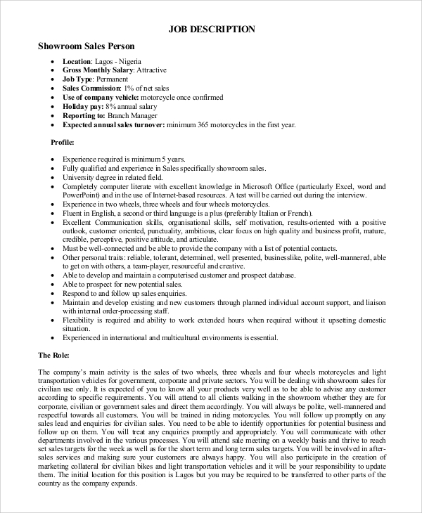 Sample Sales Job Description   Examples In Pdf Word