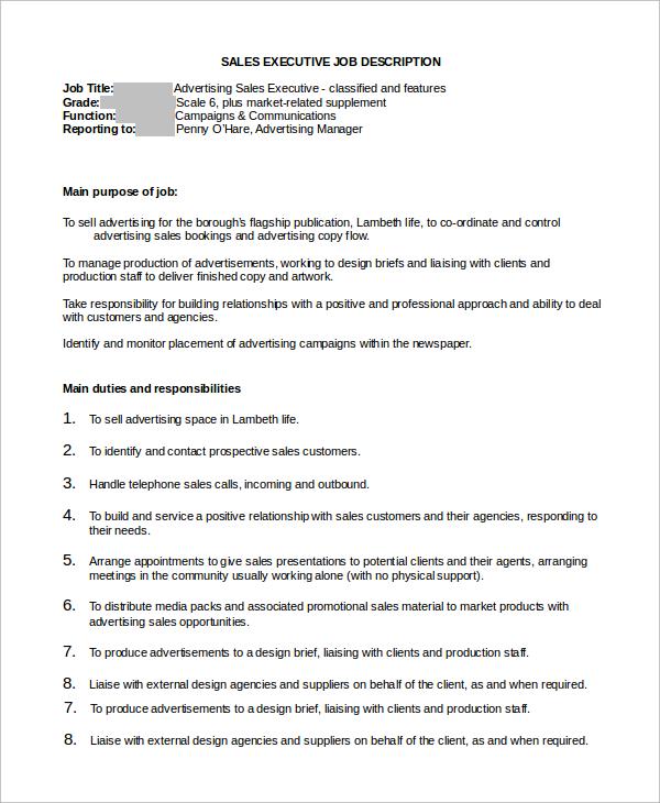 Casino sales executive job description