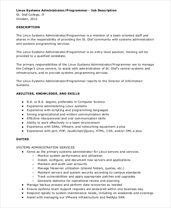 Sample System Administrator Job Description   Examples In Pdf Word