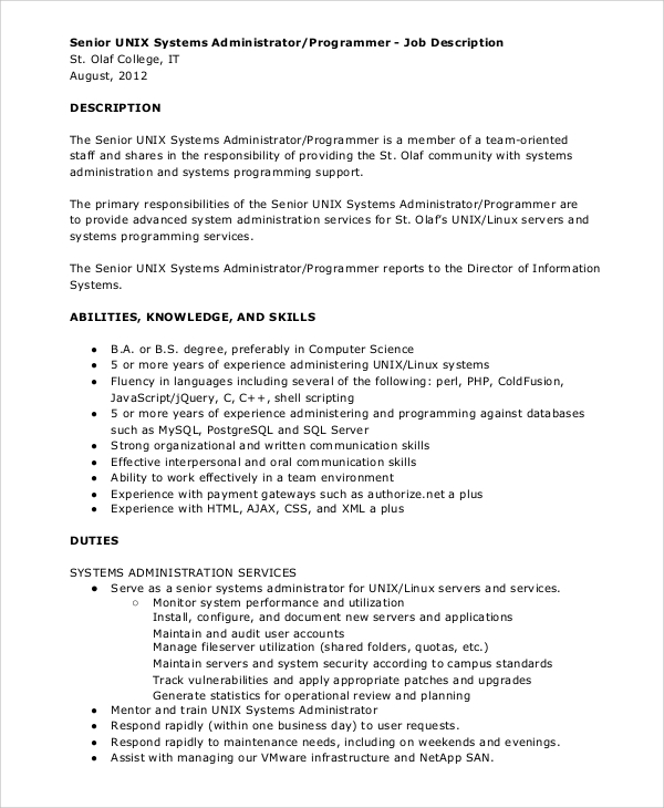 unix systems administrator programmer job description