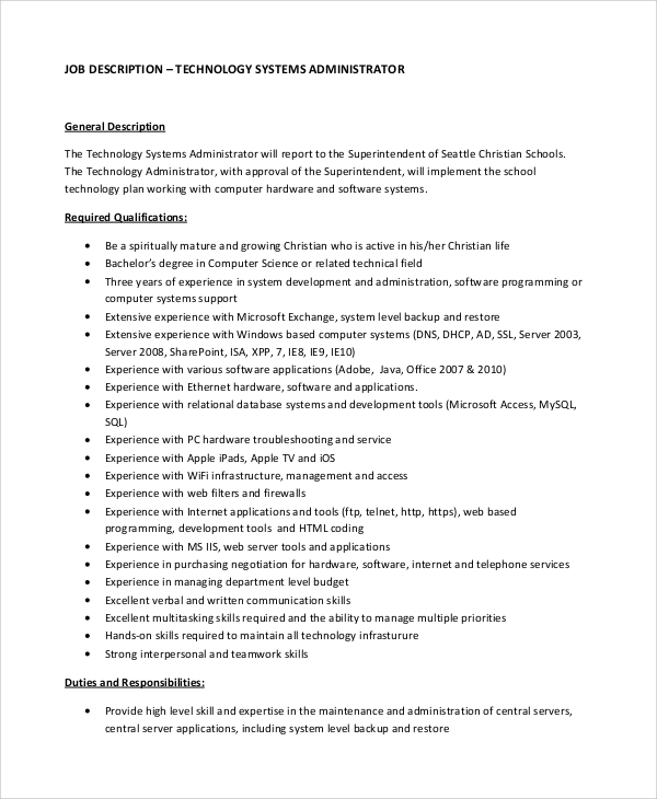 technology systems administrator job description