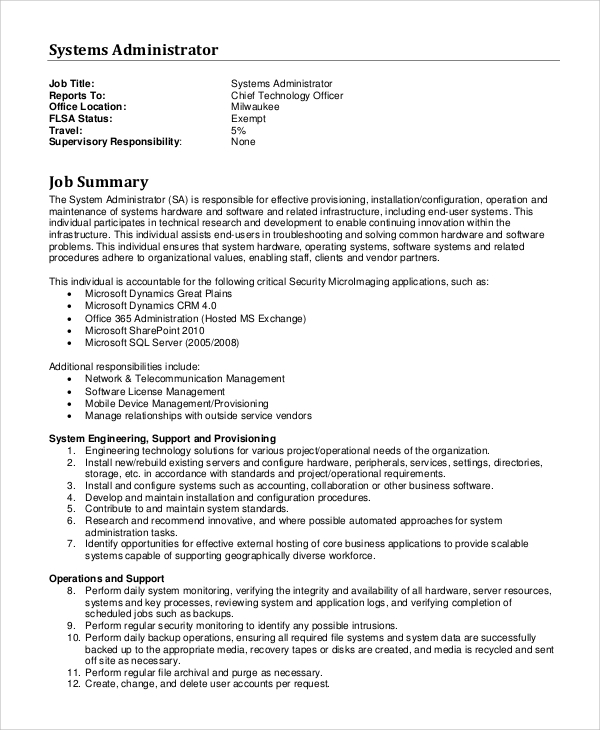 Sample System Administrator Job Description 10 Examples in PDF – Sharepoint Administrator Duties