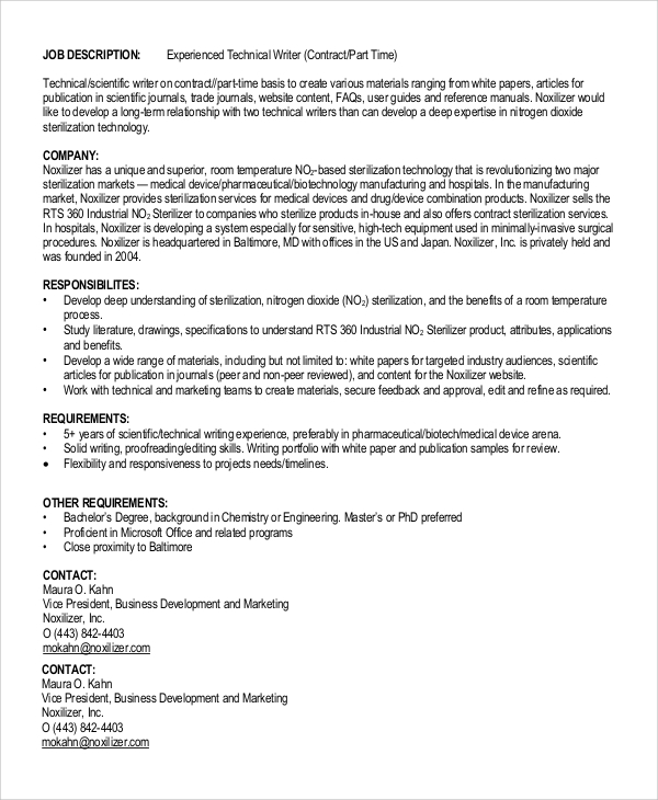 Sample Technical Writer Job Description - 9+ Examples In Pdf