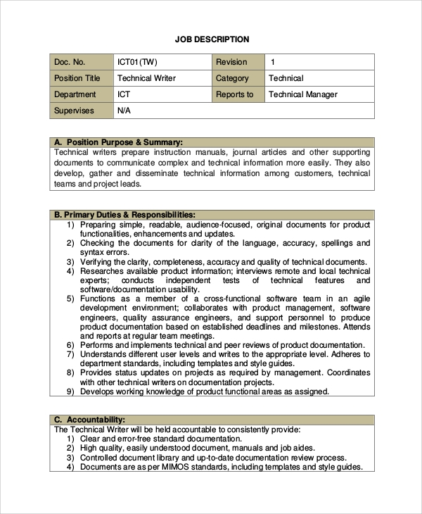 sample technical writer job description