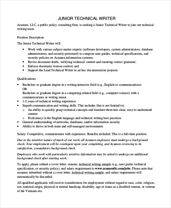 junior technical writer resume - Technical Writer Resume
