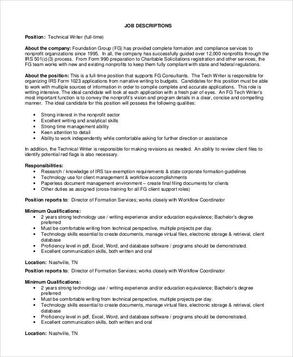 Sample Technical Writer Job Description   Examples In Pdf