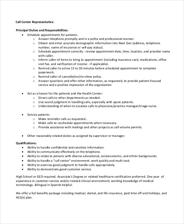 call center representative resume - Call Center Duties