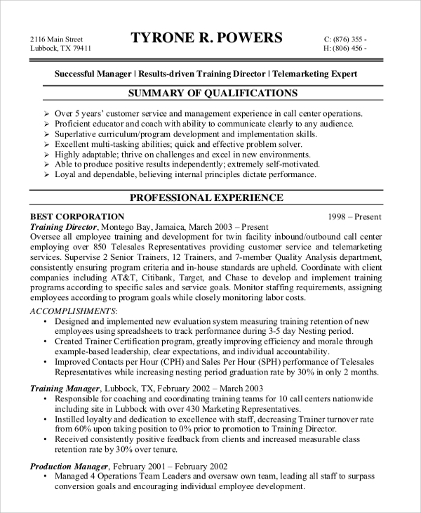 customer service call center resume