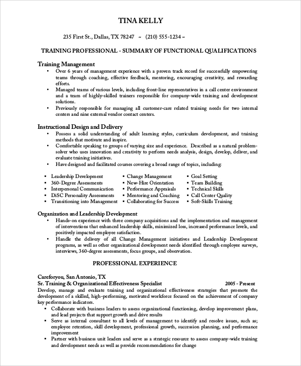 experienced call center resume