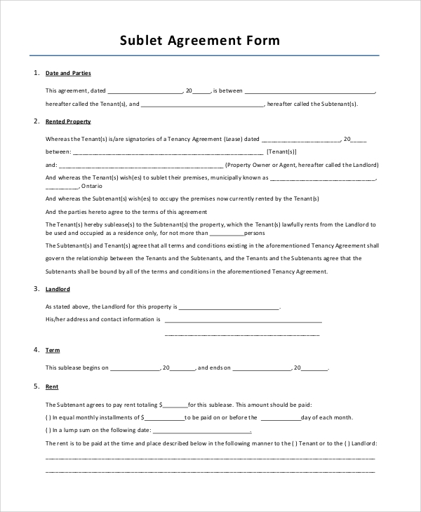 Sample Sublet Agreement 10 Examples in PDF Word – Sublet Contract Template