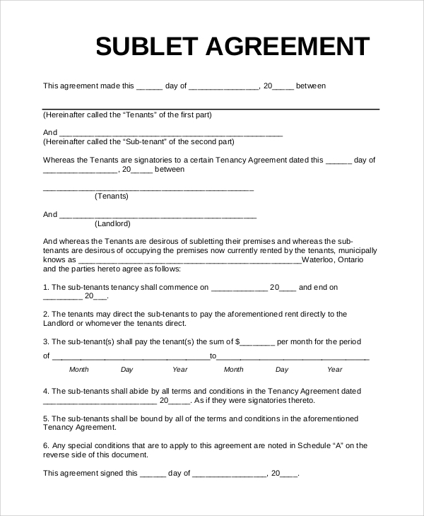 Sample Sublet Agreement   Examples In Pdf Word