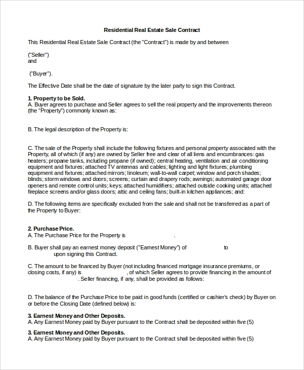 Sample Real Estate Sales Contract 10 Examples in PDF Word – Real Estate Contract Template