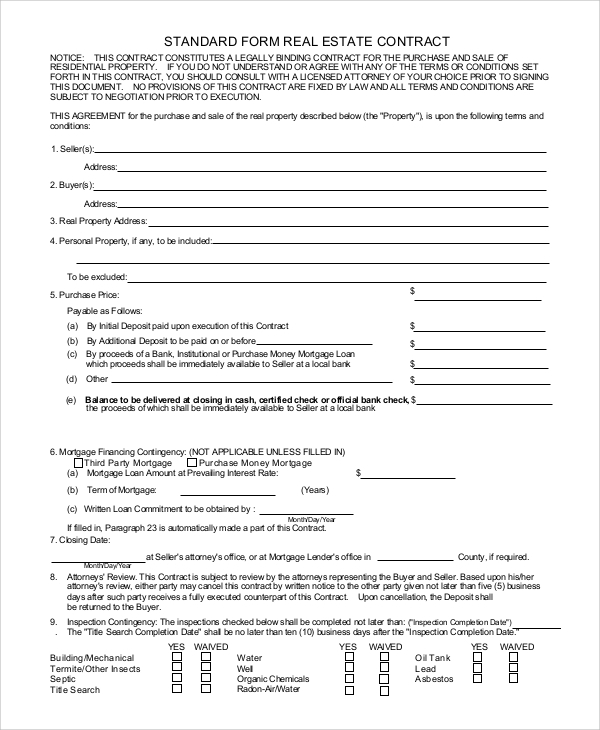 estate sale contract 7 real estate contract form samples free sample example format estate. Black Bedroom Furniture Sets. Home Design Ideas