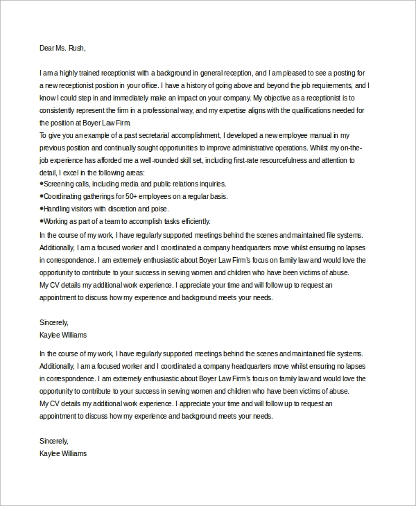 Sample Receptionist Cover Letter 7 Examples in Word PDF – Sample Receptionist Cover Letter