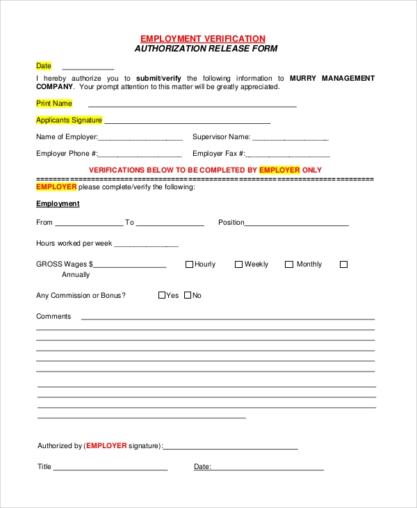 Employment Verification Authorization Release Form Sample  Blank Employment Verification Form