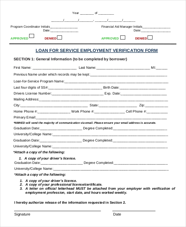 Sample Service Employment Verification Form In PDF  Employment Verification Form Sample