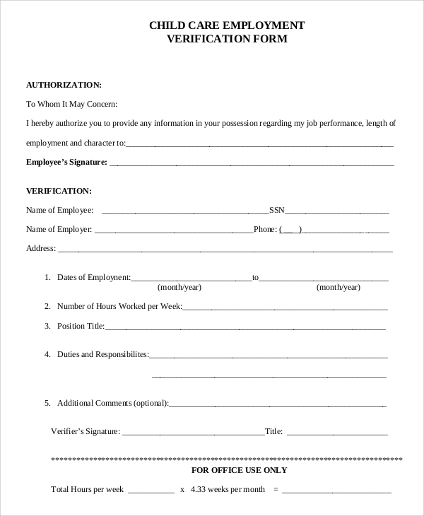 Wonderful Sample Verification Of Employment Form Examples In Pdf Word