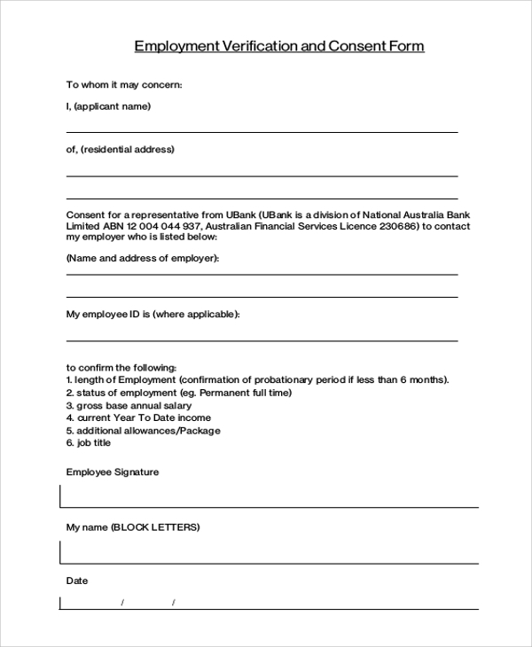 sample verification of employment form