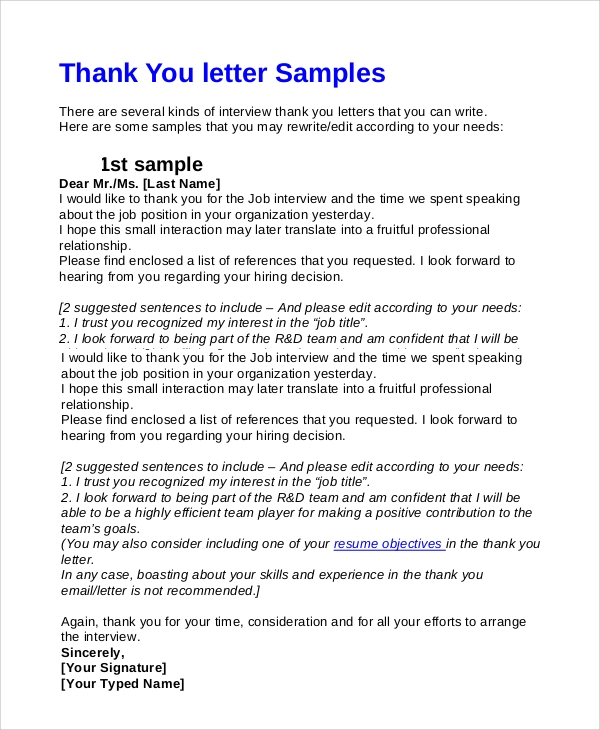 7 interview thank you email samples sample templates